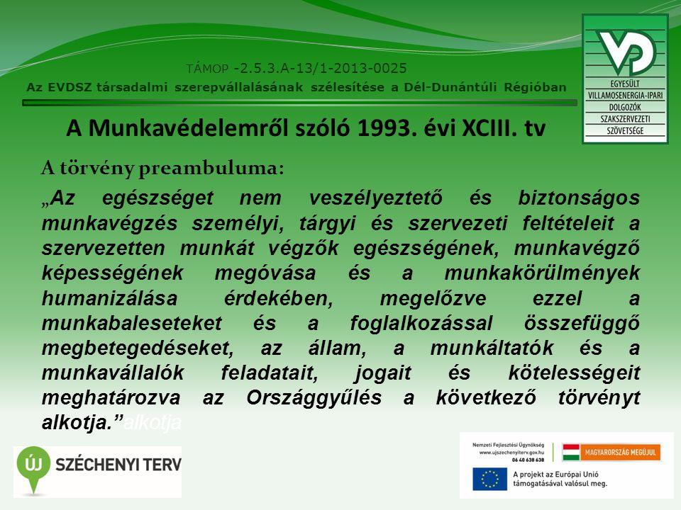 """A Munkavédelemről szóló 1993. évi XCIII. tv A törvény preambuluma: """" Az egészséget nem veszélyeztető és biztonságos munkavégzés személyi, tárgyi és sz"""