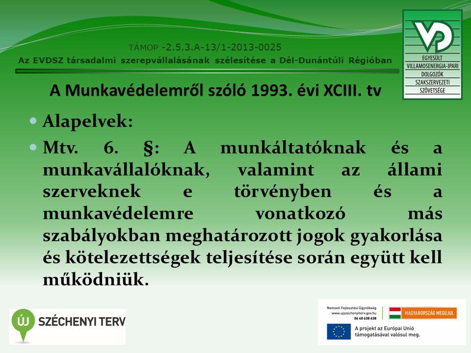 A Munkavédelemről szóló 1993. évi XCIII. tv Alapelvek: Mtv. 6. §: A munkáltatóknak és a munkavállalóknak, valamint az állami szerveknek e törvényben é