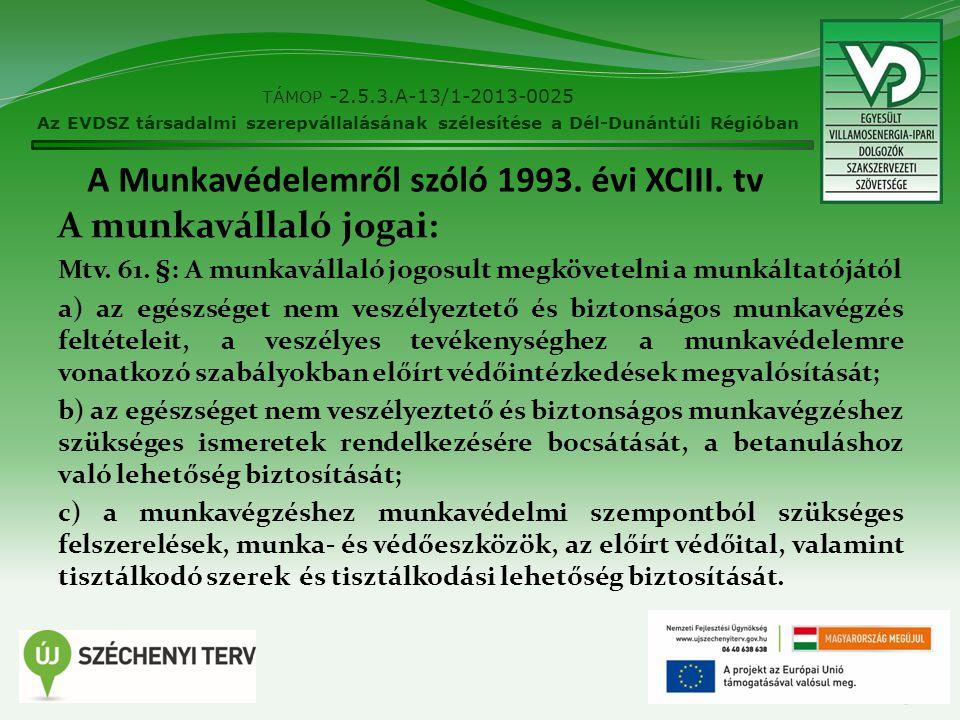 A Munkavédelemről szóló 1993. évi XCIII. tv A munkavállaló jogai: Mtv. 61. §: A munkavállaló jogosult megkövetelni a munkáltatójától a) az egészséget
