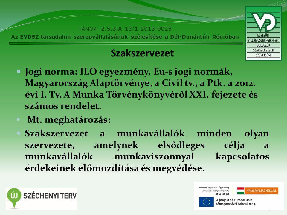 Szakszervezet Jogi norma: ILO egyezmény, Eu-s jogi normák, Magyarország Alaptörvénye, a Civil tv., a Ptk. a 2012. évi I. Tv. A Munka Törvénykönyvéről