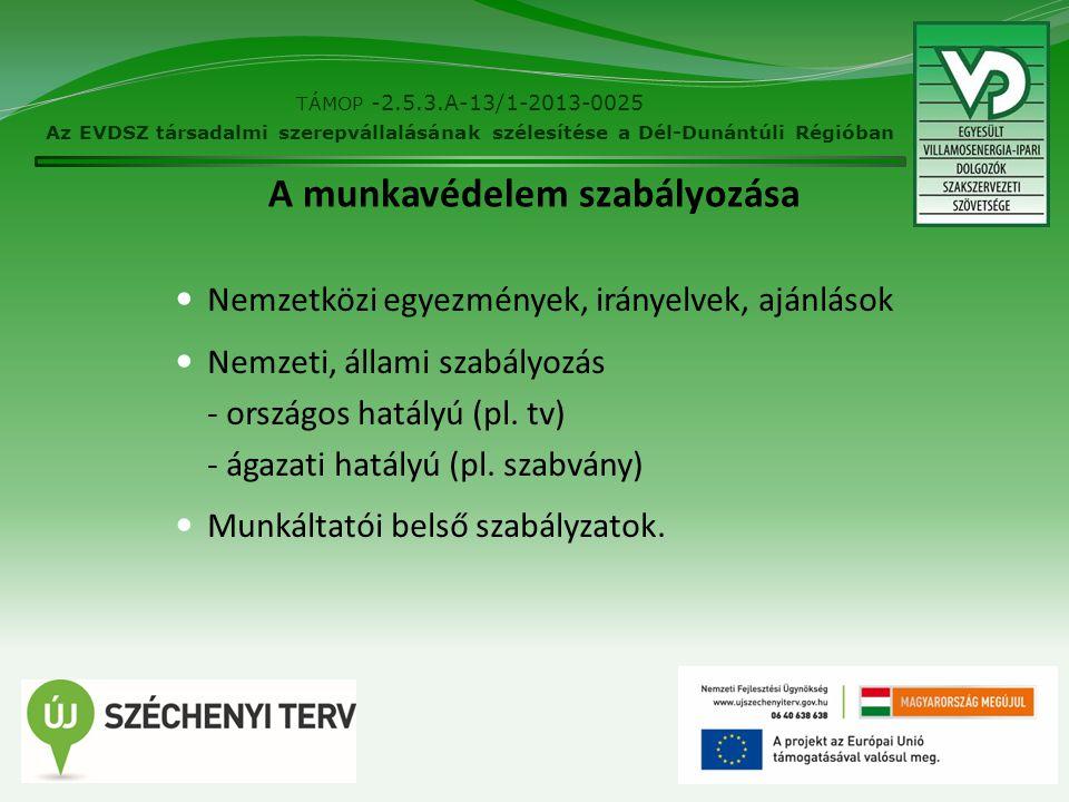 4 A munkavédelem szabályozása Nemzetközi egyezmények, irányelvek, ajánlások Nemzeti, állami szabályozás - országos hatályú (pl. tv) - ágazati hatályú