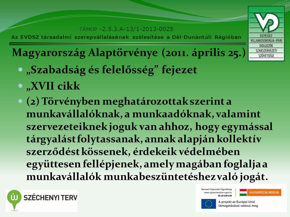 """Magyarország Alaptörvénye (2011. április 25.) """"Szabadság és felelősség"""" fejezet """"XVII cikk (2) Törvényben meghatározottak szerint a munkavállalóknak,"""