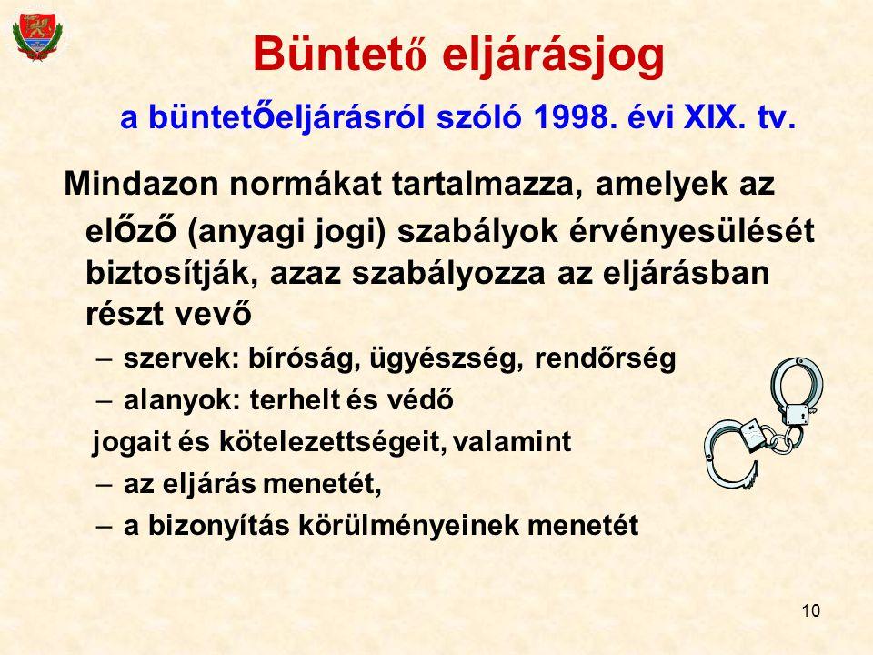 10 Büntet ő eljárásjog a büntet ő eljárásról szóló 1998. évi XIX. tv. Mindazon normákat tartalmazza, amelyek az el ő z ő (anyagi jogi) szabályok érvén