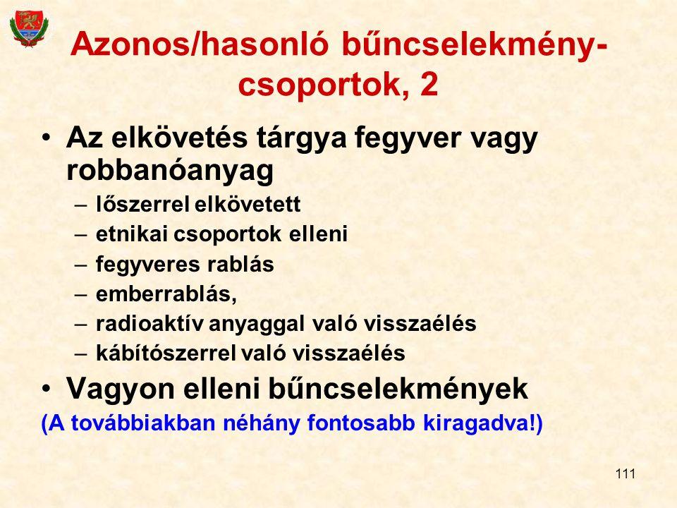 111 Azonos/hasonló bűncselekmény- csoportok, 2 Az elkövetés tárgya fegyver vagy robbanóanyag –lőszerrel elkövetett –etnikai csoportok elleni –fegyvere