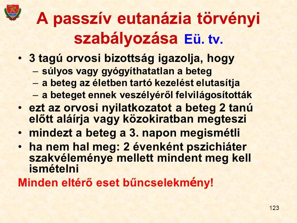 123 A passzív eutanázia törvényi szabályozása Eü. tv. 3 tagú orvosi bizottság igazolja, hogy –súlyos vagy gyógyíthatatlan a beteg –a beteg az életben