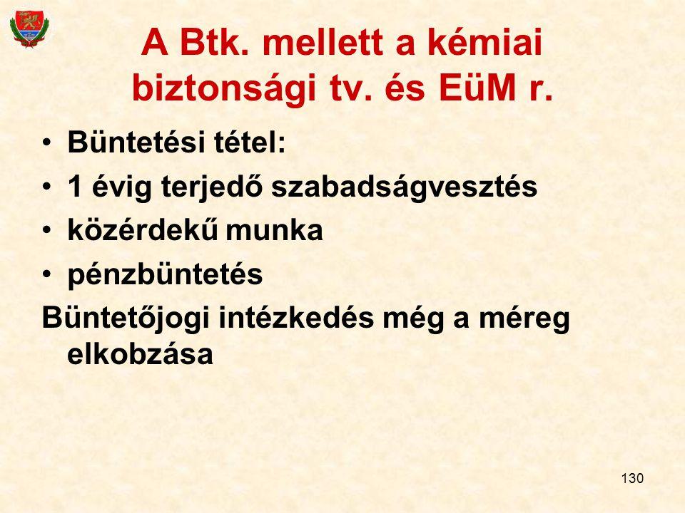 130 A Btk. mellett a kémiai biztonsági tv. és EüM r. Büntetési tétel: 1 évig terjedő szabadságvesztés közérdekű munka pénzbüntetés Büntetőjogi intézke