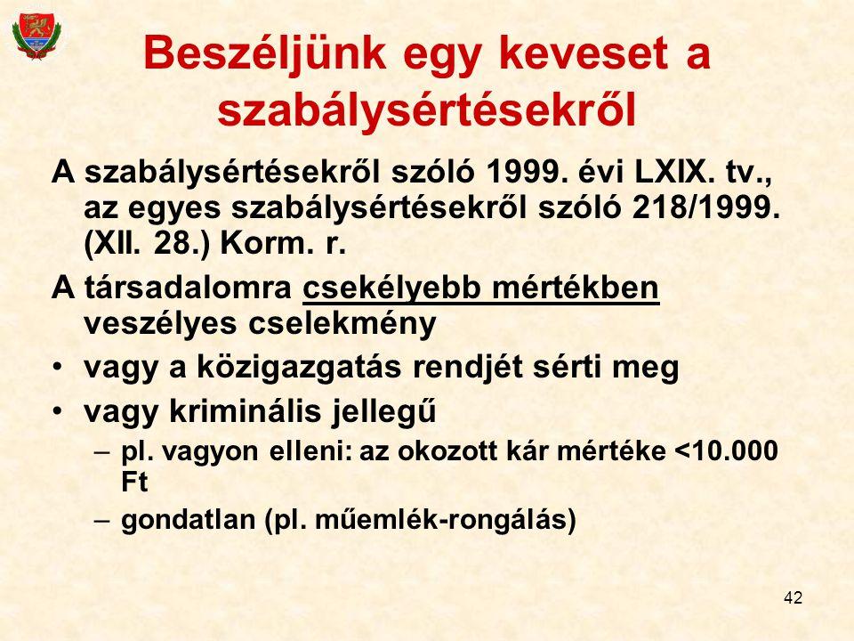 42 Beszéljünk egy keveset a szabálysértésekről A szabálysértésekről szóló 1999. évi LXIX. tv., az egyes szabálysértésekről szóló 218/1999. (XII. 28.)