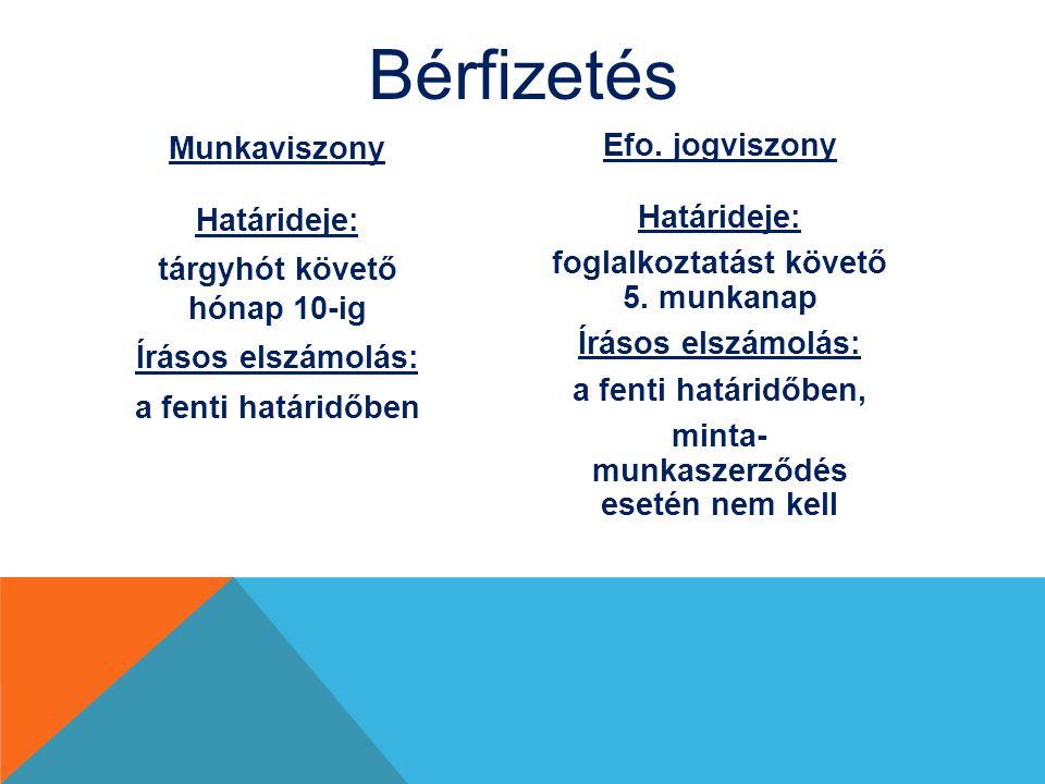 Bérfizetés Munkaviszony Határideje: tárgyhót követő hónap 10-ig Írásos elszámolás: a fenti határidőben Efo. jogviszony Határideje: foglalkoztatást köv