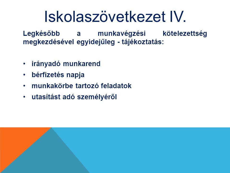 Iskolaszövetkezet IV. Legkésőbb a munkavégzési kötelezettség megkezdésével egyidejűleg - tájékoztatás: irányadó munkarend bérfizetés napja munkakörbe