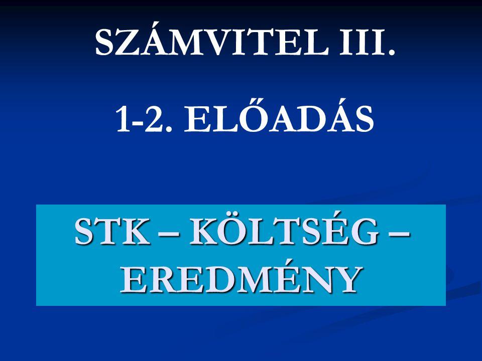 STK – KÖLTSÉG – EREDMÉNY SZÁMVITEL III. 1-2. ELŐADÁS
