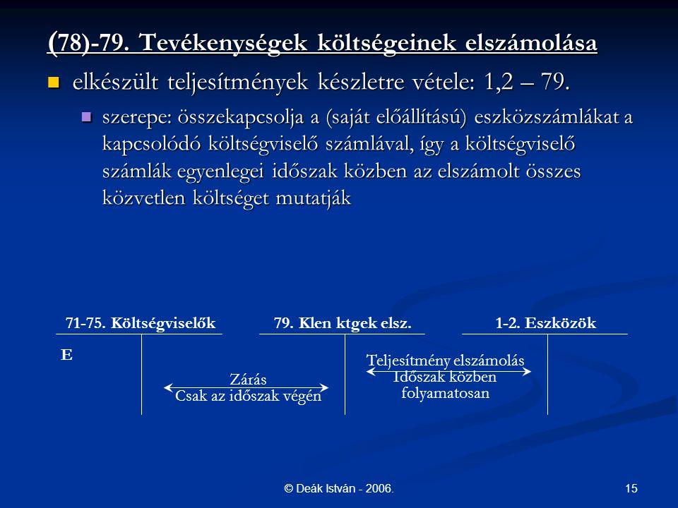 15© Deák István - 2006. ( 78)-79. Tevékenységek költségeinek elszámolása elkészült teljesítmények készletre vétele: 1,2 – 79. elkészült teljesítmények