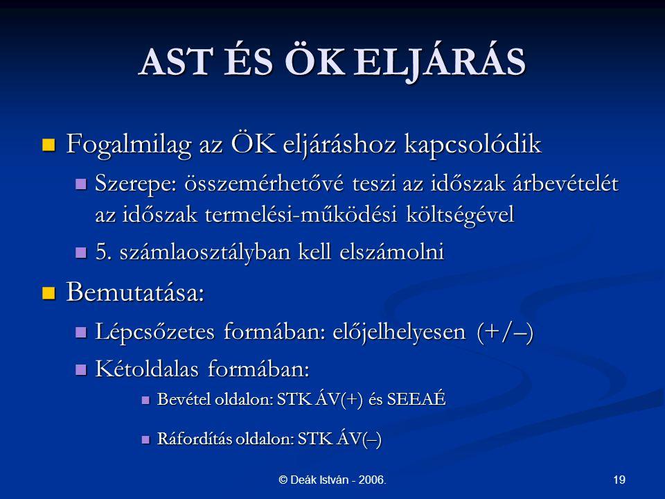 19© Deák István - 2006. AST ÉS ÖK ELJÁRÁS Fogalmilag az ÖK eljáráshoz kapcsolódik Fogalmilag az ÖK eljáráshoz kapcsolódik Szerepe: összemérhetővé tesz