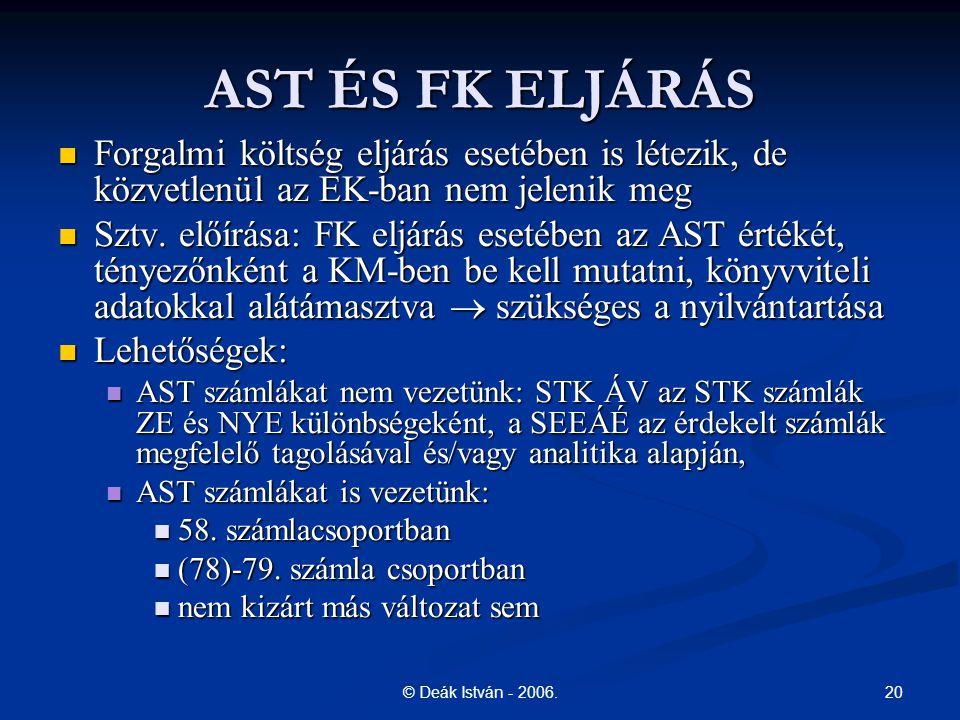 20© Deák István - 2006. AST ÉS FK ELJÁRÁS Forgalmi költség eljárás esetében is létezik, de közvetlenül az EK-ban nem jelenik meg Forgalmi költség eljá