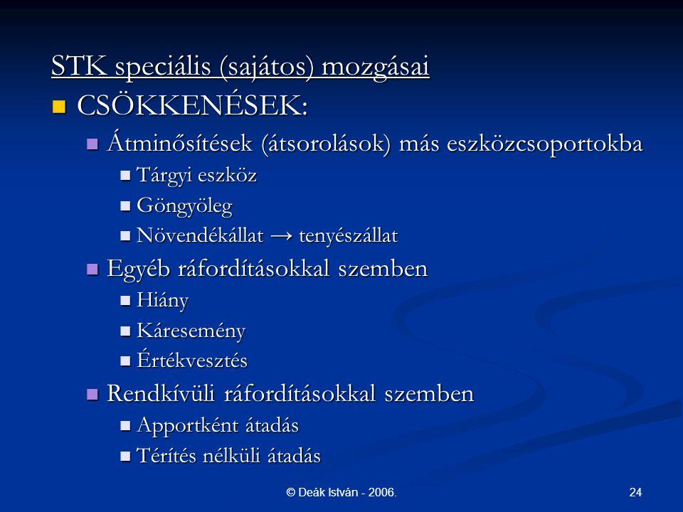 24© Deák István - 2006. STK speciális (sajátos) mozgásai CSÖKKENÉSEK: CSÖKKENÉSEK: Átminősítések (átsorolások) más eszközcsoportokba Átminősítések (át