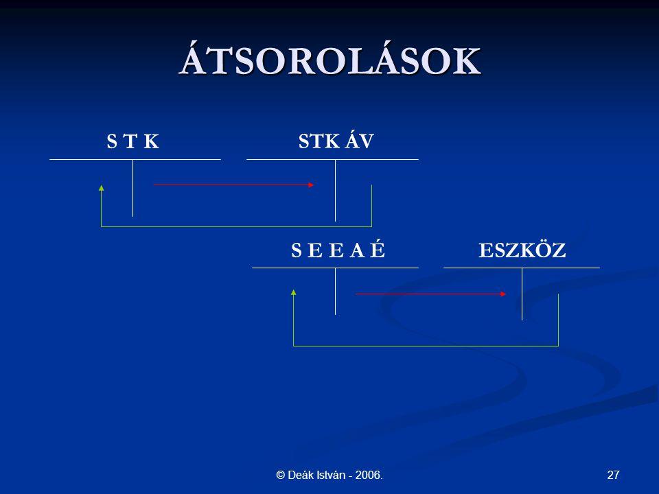 27© Deák István - 2006. ÁTSOROLÁSOK S T K STK ÁV S E E A ÉESZKÖZ