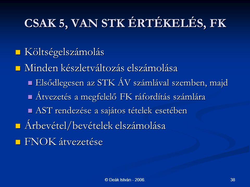 38© Deák István - 2006. CSAK 5, VAN STK ÉRTÉKELÉS, FK Költségelszámolás Költségelszámolás Minden készletváltozás elszámolása Minden készletváltozás el