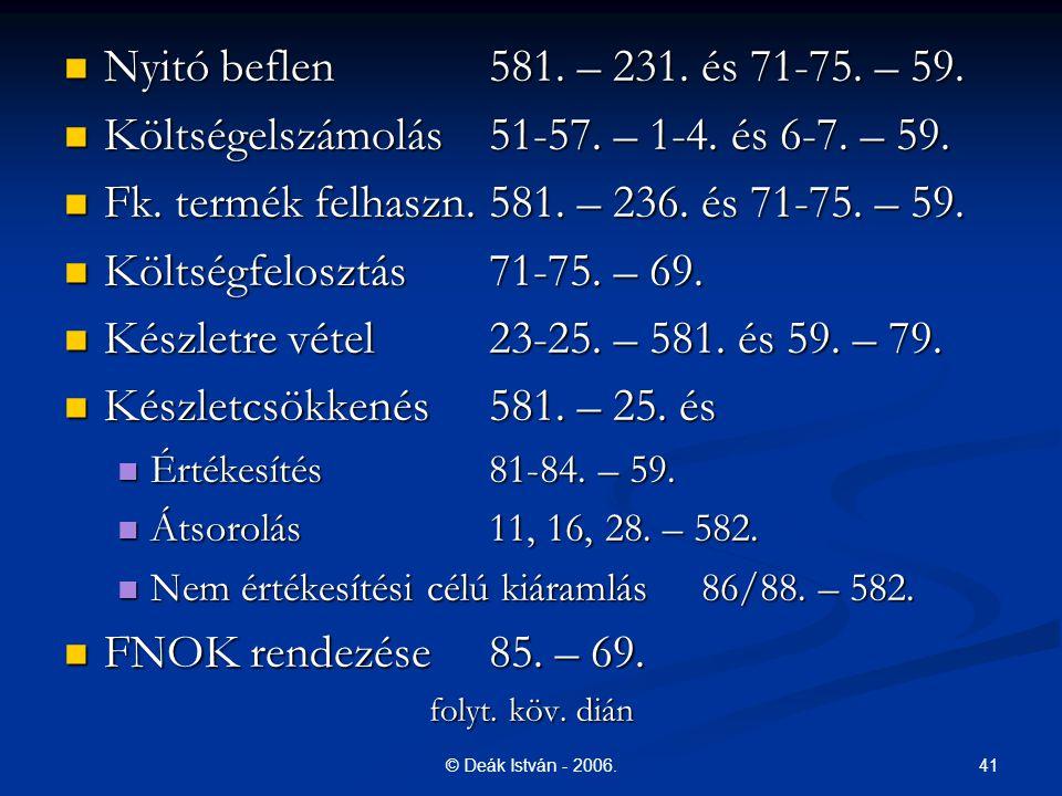 41© Deák István - 2006. Nyitó beflen 581. – 231. és 71-75. – 59. Nyitó beflen 581. – 231. és 71-75. – 59. Költségelszámolás51-57. – 1-4. és 6-7. – 59.