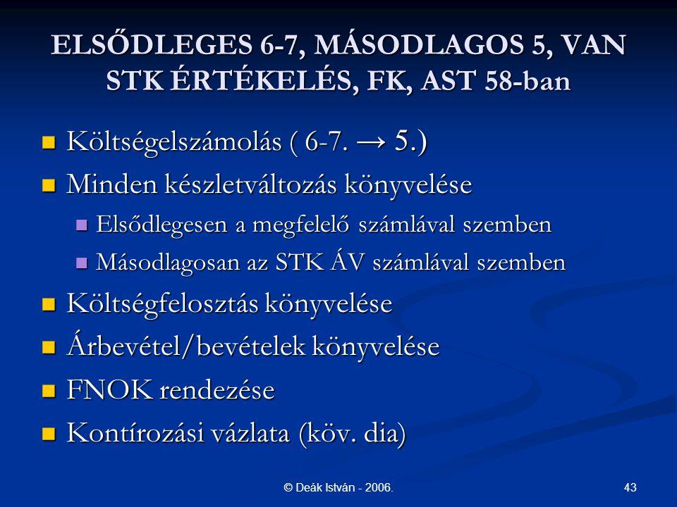 43© Deák István - 2006. ELSŐDLEGES 6-7, MÁSODLAGOS 5, VAN STK ÉRTÉKELÉS, FK, AST 58-ban Költségelszámolás ( 6-7. → 5.) Költségelszámolás ( 6-7. → 5.)