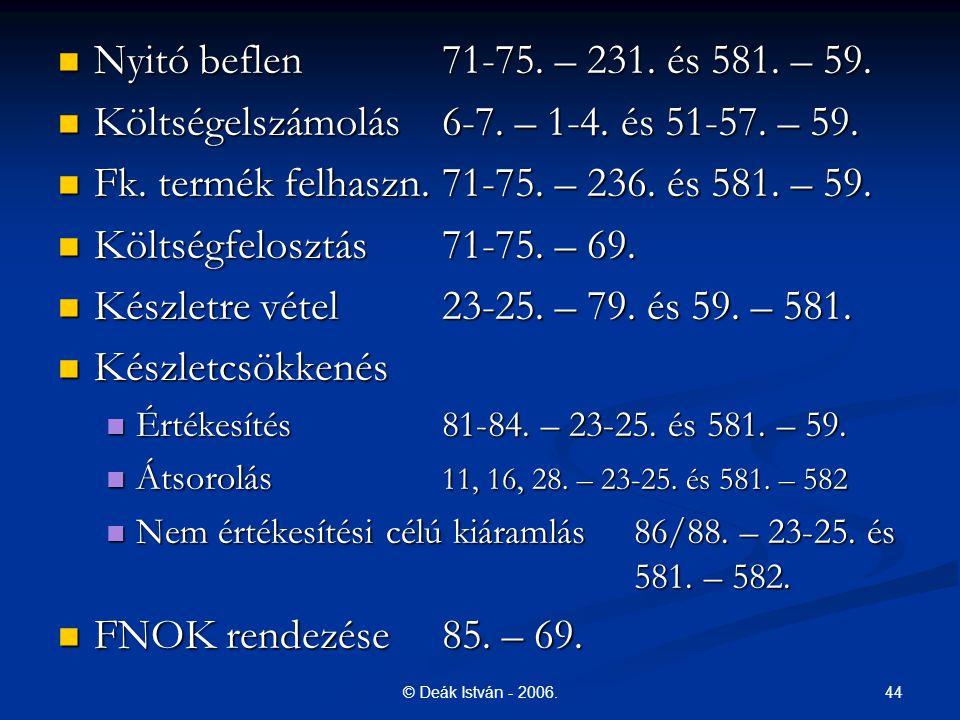 44© Deák István - 2006. Nyitó beflen 71-75. – 231. és 581. – 59. Nyitó beflen 71-75. – 231. és 581. – 59. Költségelszámolás6-7. – 1-4. és 51-57. – 59.