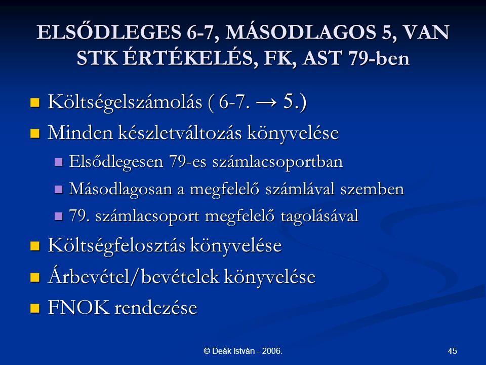45© Deák István - 2006. ELSŐDLEGES 6-7, MÁSODLAGOS 5, VAN STK ÉRTÉKELÉS, FK, AST 79-ben Költségelszámolás ( 6-7. → 5.) Költségelszámolás ( 6-7. → 5.)