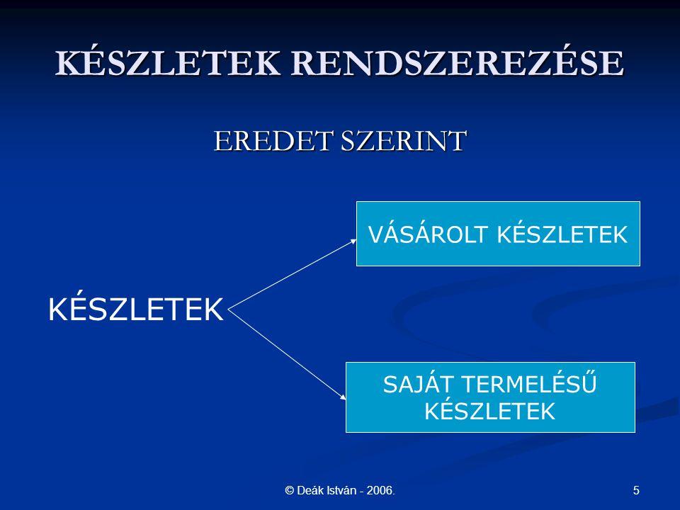 5© Deák István - 2006. KÉSZLETEK RENDSZEREZÉSE EREDET SZERINT KÉSZLETEK VÁSÁROLT KÉSZLETEK SAJÁT TERMELÉSŰ KÉSZLETEK