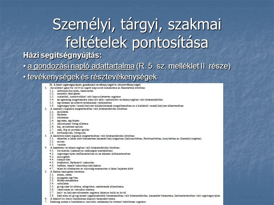 Személyi, tárgyi, szakmai feltételek pontosítása Házi segítségnyújtás: a gondozási napló adattartalma (R. 5. sz. melléklet II. része) a gondozási napl