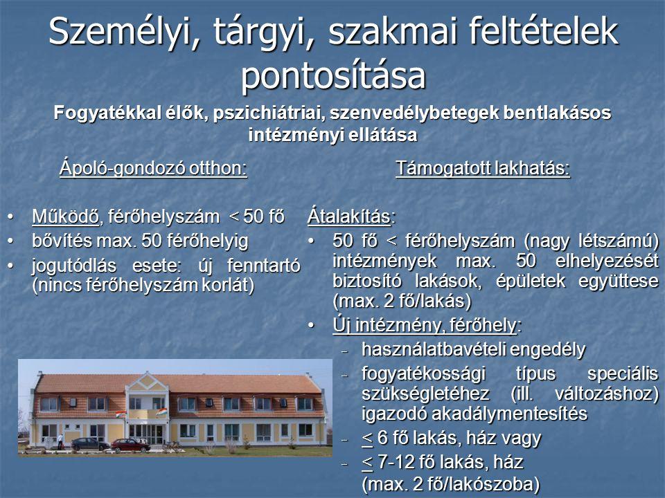 Személyi, tárgyi, szakmai feltételek pontosítása Ápoló-gondozó otthon: Működő, férőhelyszám < 50 főMűködő, férőhelyszám < 50 fő bővítés max. 50 férőhe