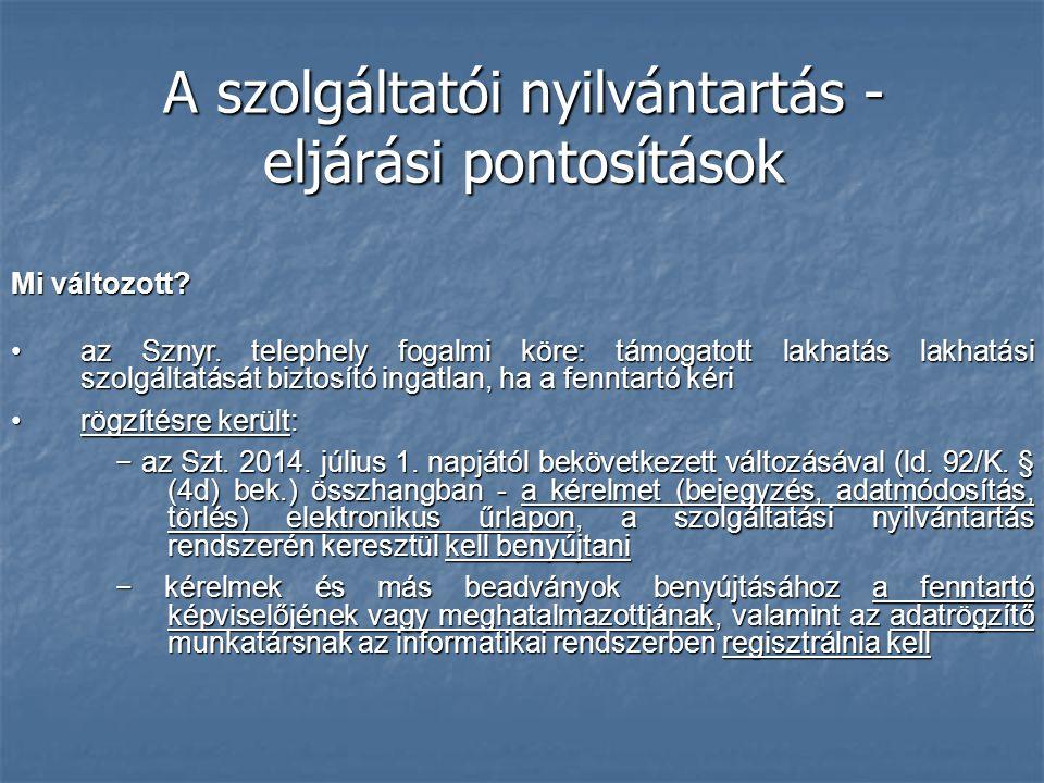 A szolgáltatói nyilvántartás - eljárási pontosítások Mi változott? az Sznyr. telephely fogalmi köre: támogatott lakhatás lakhatási szolgáltatását bizt