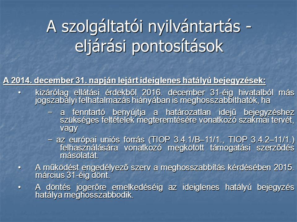 A szolgáltatói nyilvántartás - eljárási pontosítások A 2014. december 31. napján lejárt ideiglenes hatályú bejegyzések: kizárólag ellátási érdekből 20