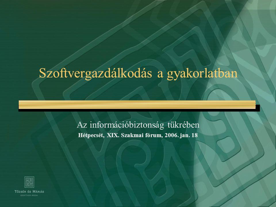 Szoftvergazdálkodás a gyakorlatban Az információbiztonság tükrében Hétpecsét, XIX. Szakmai fórum, 2006. jan. 18