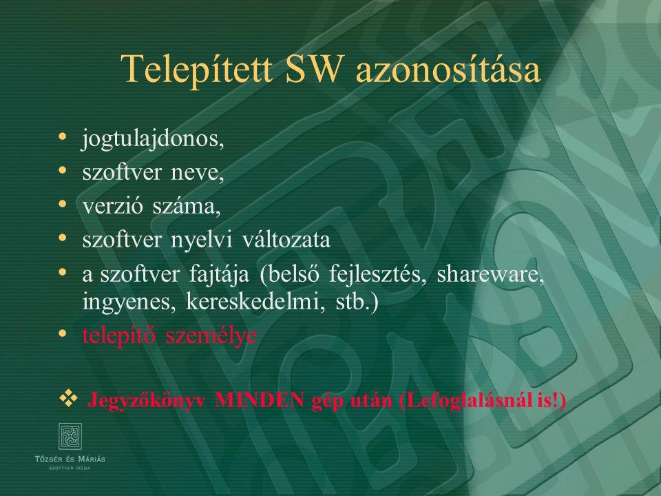 Telepített SW azonosítása jogtulajdonos, szoftver neve, verzió száma, szoftver nyelvi változata a szoftver fajtája (belső fejlesztés, shareware, ingye