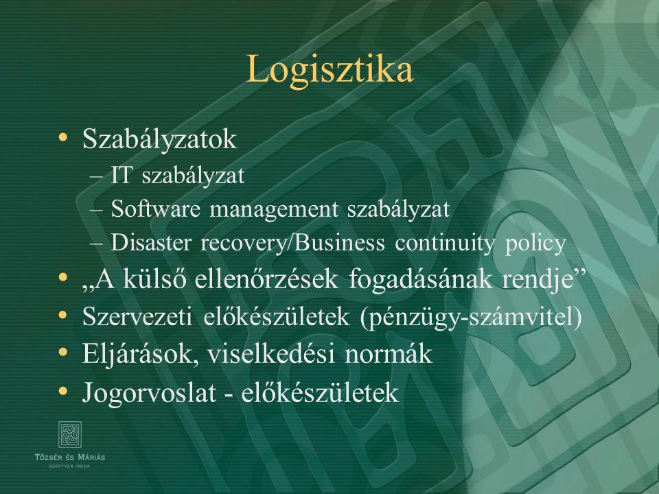 """Logisztika Szabályzatok –IT szabályzat –Software management szabályzat –Disaster recovery/Business continuity policy """"A külső ellenőrzések fogadásának"""