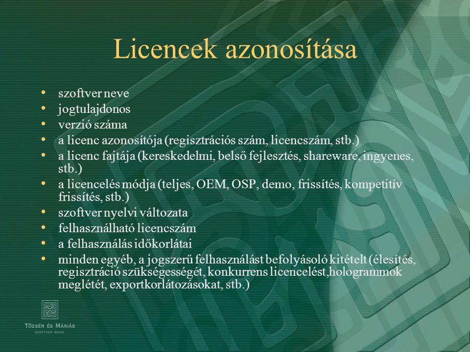 Licencek azonosítása szoftver neve jogtulajdonos verzió száma a licenc azonosítója (regisztrációs szám, licencszám, stb.) a licenc fajtája (kereskedel
