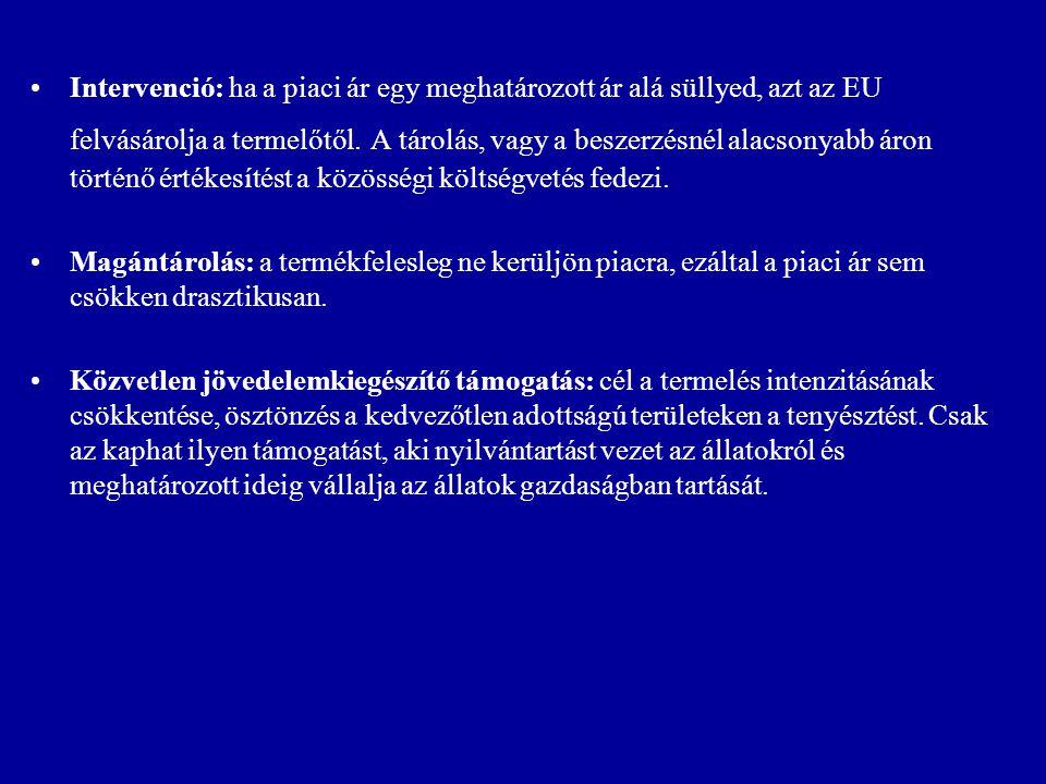 Intervenció: ha a piaci ár egy meghatározott ár alá süllyed, azt az EU felvásárolja a termelőtől. A tárolás, vagy a beszerzésnél alacsonyabb áron tört