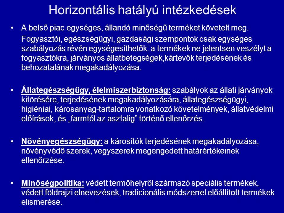 Horizontális hatályú intézkedések A belső piac egységes, állandó minőségű terméket követelt meg. Fogyasztói, egészségügyi, gazdasági szempontok csak e