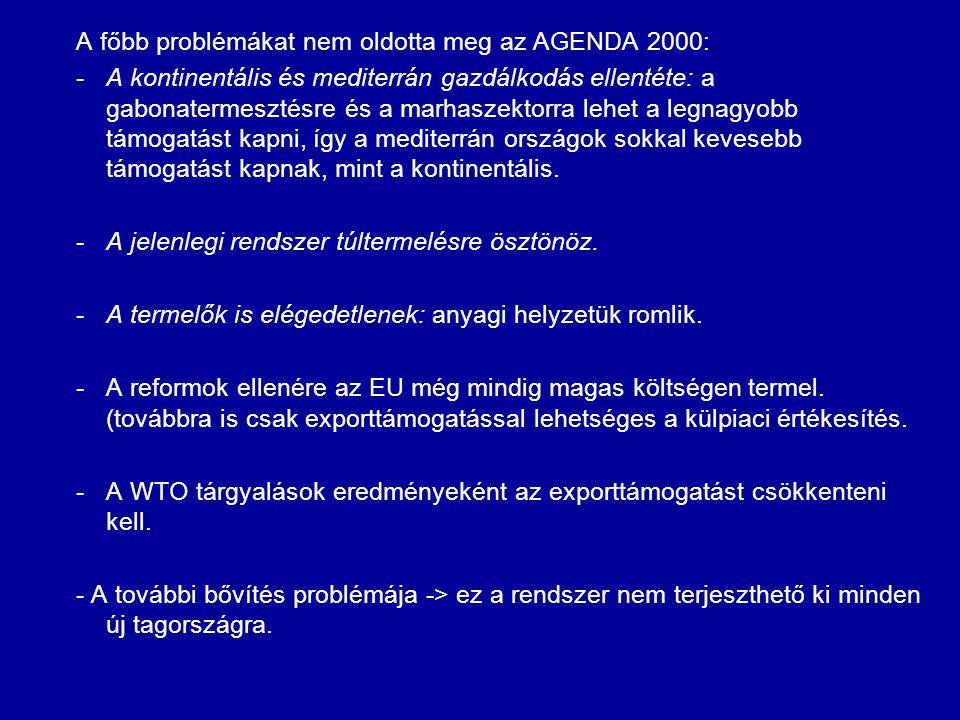 A főbb problémákat nem oldotta meg az AGENDA 2000: -A kontinentális és mediterrán gazdálkodás ellentéte: a gabonatermesztésre és a marhaszektorra lehe