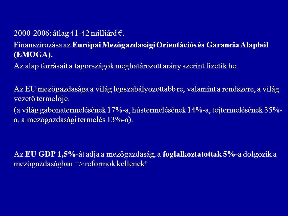 2000-2006: átlag 41-42 milliárd €. Finanszírozása az Európai Mezőgazdasági Orientációs és Garancia Alapból (EMOGA). Az alap forrásait a tagországok me