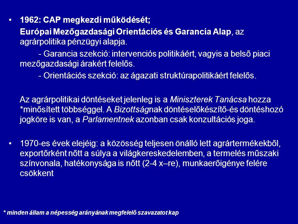 1962: CAP megkezdi működését; Európai Mezőgazdasági Orientációs és Garancia Alap, az agrárpolitika pénzügyi alapja. - Garancia szekció: intervenciós p