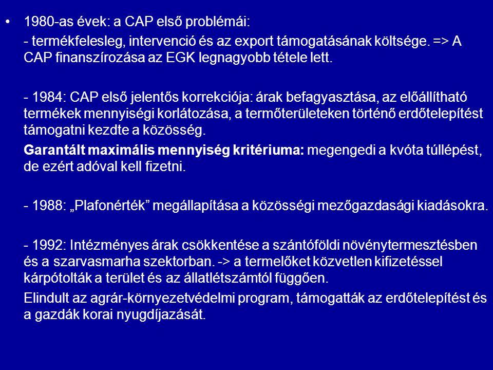 1980-as évek: a CAP első problémái: - termékfelesleg, intervenció és az export támogatásának költsége. => A CAP finanszírozása az EGK legnagyobb tétel