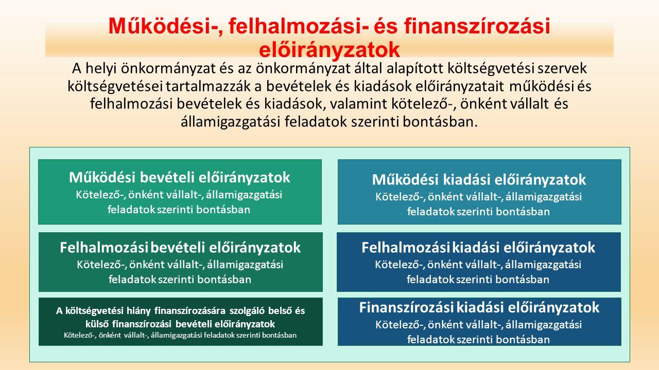 Működési-, felhalmozási- és finanszírozási előirányzatok A helyi önkormányzat és az önkormányzat által alapított költségvetési szervek költségvetései