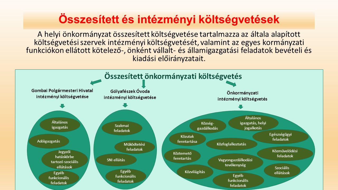 Összesített és intézményi költségvetések A helyi önkormányzat összesített költségvetése tartalmazza az általa alapított költségvetési szervek intézmén