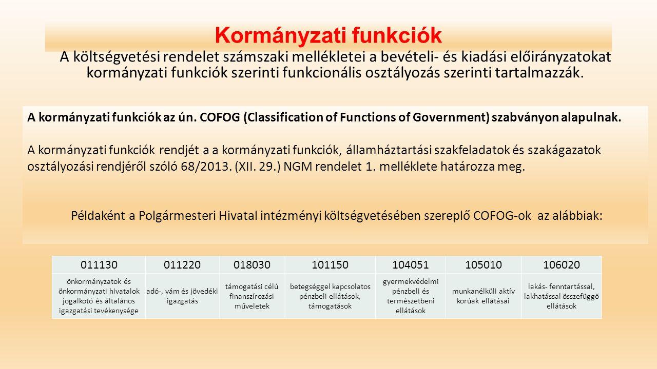 Kormányzati funkciók A költségvetési rendelet számszaki mellékletei a bevételi- és kiadási előirányzatokat kormányzati funkciók szerinti funkcionális