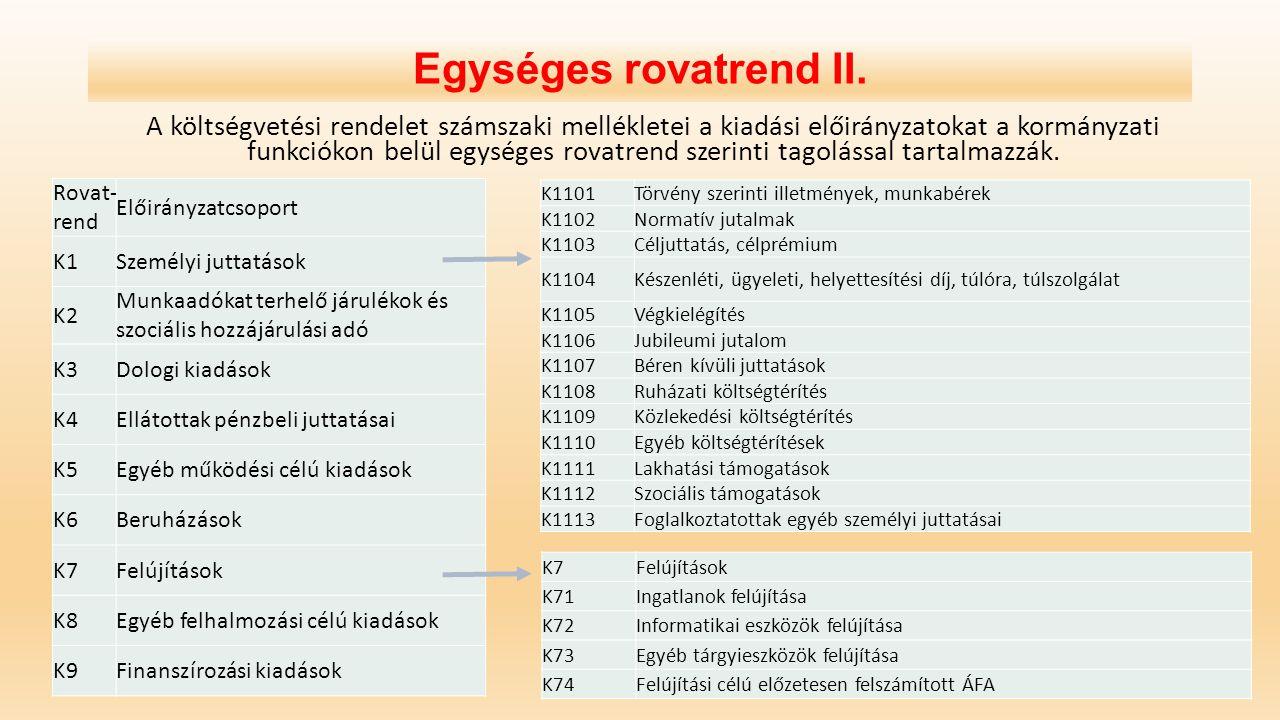 Egységes rovatrend II. A költségvetési rendelet számszaki mellékletei a kiadási előirányzatokat a kormányzati funkciókon belül egységes rovatrend szer