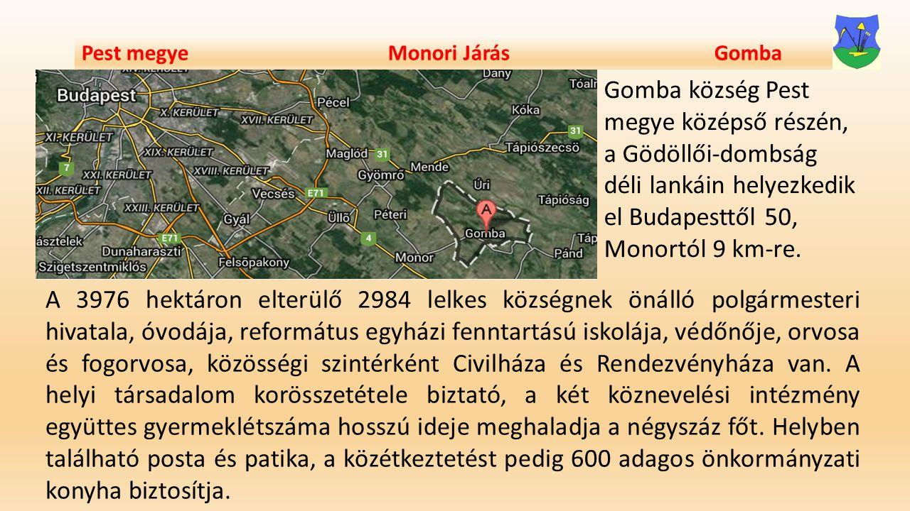 Pest megye Monori Járás Gomba Gomba község Pest megye középső részén, a Gödöllői-dombság déli lankáin helyezkedik el Budapesttől 50, Monortól 9 km-re.