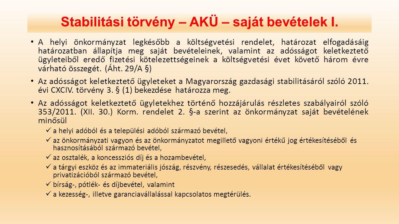Stabilitási törvény – AKÜ – saját bevételek I. A helyi önkormányzat legkésőbb a költségvetési rendelet, határozat elfogadásáig határozatban állapítja