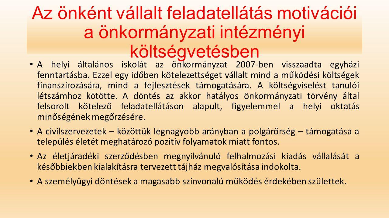 Az önként vállalt feladatellátás motivációi a önkormányzati intézményi költségvetésben A helyi általános iskolát az önkormányzat 2007-ben visszaadta e