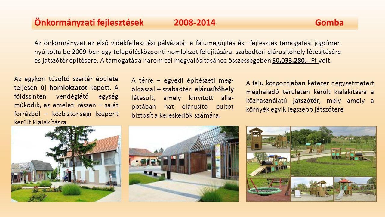 Önkormányzati fejlesztések 2008-2014 Gomba Az önkormányzat az első vidékfejlesztési pályázatát a falumegújítás és –fejlesztés támogatási jogcímen nyúj