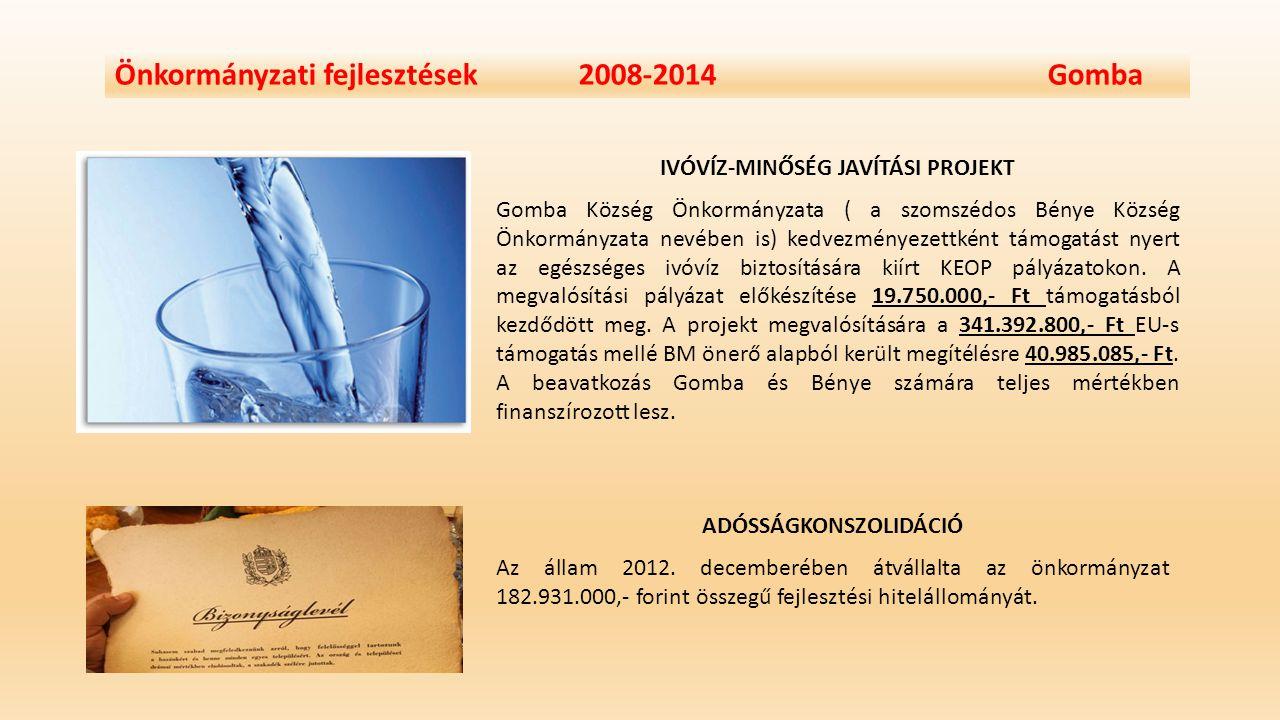 Önkormányzati fejlesztések 2008-2014 Gomba IVÓVÍZ-MINŐSÉG JAVÍTÁSI PROJEKT Gomba Község Önkormányzata ( a szomszédos Bénye Község Önkormányzata nevébe
