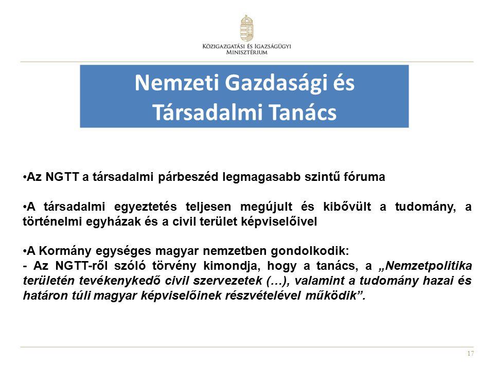 """17 Nemzeti Gazdasági és Társadalmi Tanács Az NGTT a társadalmi párbeszéd legmagasabb szintű fóruma A társadalmi egyeztetés teljesen megújult és kibővült a tudomány, a történelmi egyházak és a civil terület képviselőivel A Kormány egységes magyar nemzetben gondolkodik: - Az NGTT-ről szóló törvény kimondja, hogy a tanács, a """"Nemzetpolitika területén tevékenykedő civil szervezetek (…), valamint a tudomány hazai és határon túli magyar képviselőinek részvételével működik ."""