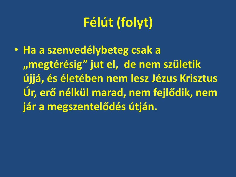 """Félút (folyt) Ha a szenvedélybeteg csak a """"megtérésig"""" jut el, de nem születik újjá, és életében nem lesz Jézus Krisztus Úr, erő nélkül marad, nem fej"""